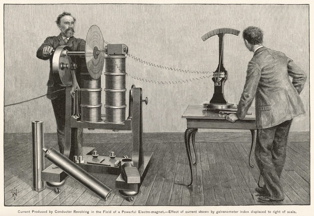Illustration of an 1889 electricity experiment.