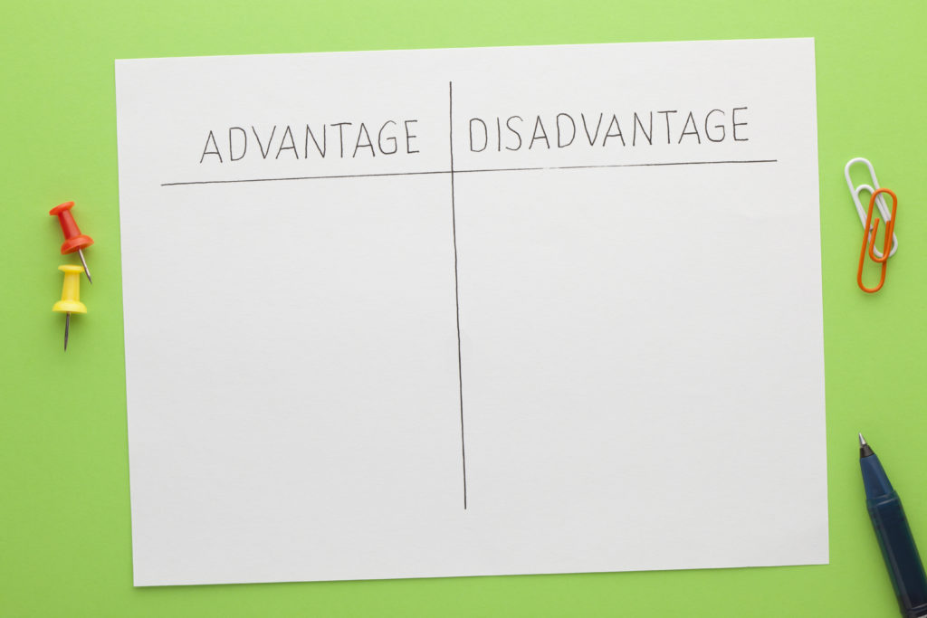 Advantage versus disadvantage concept with various stationery. Empty list.