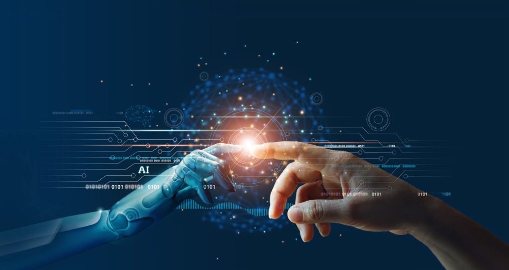 Concept of artificial intelligence and machine learning.
