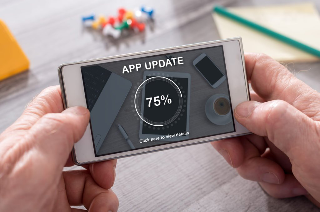Application update at 75%, concept.