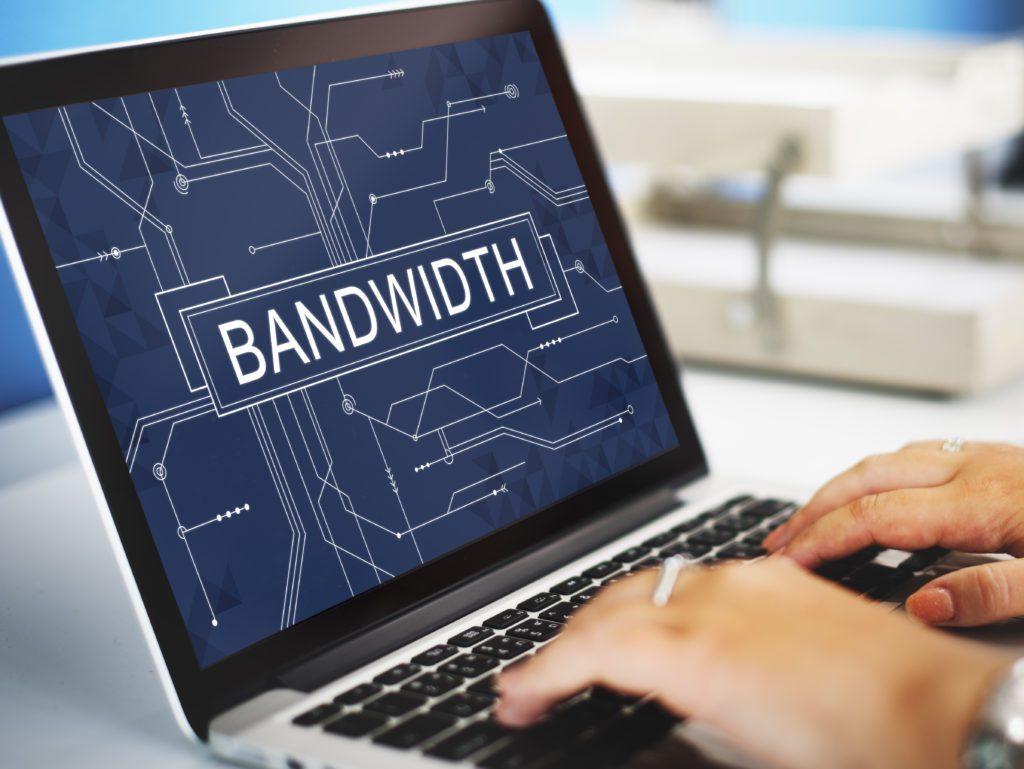 Bandwidth concept on laptop screen.