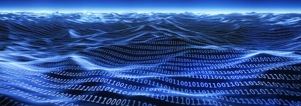 Binary numbers in waves, concept.