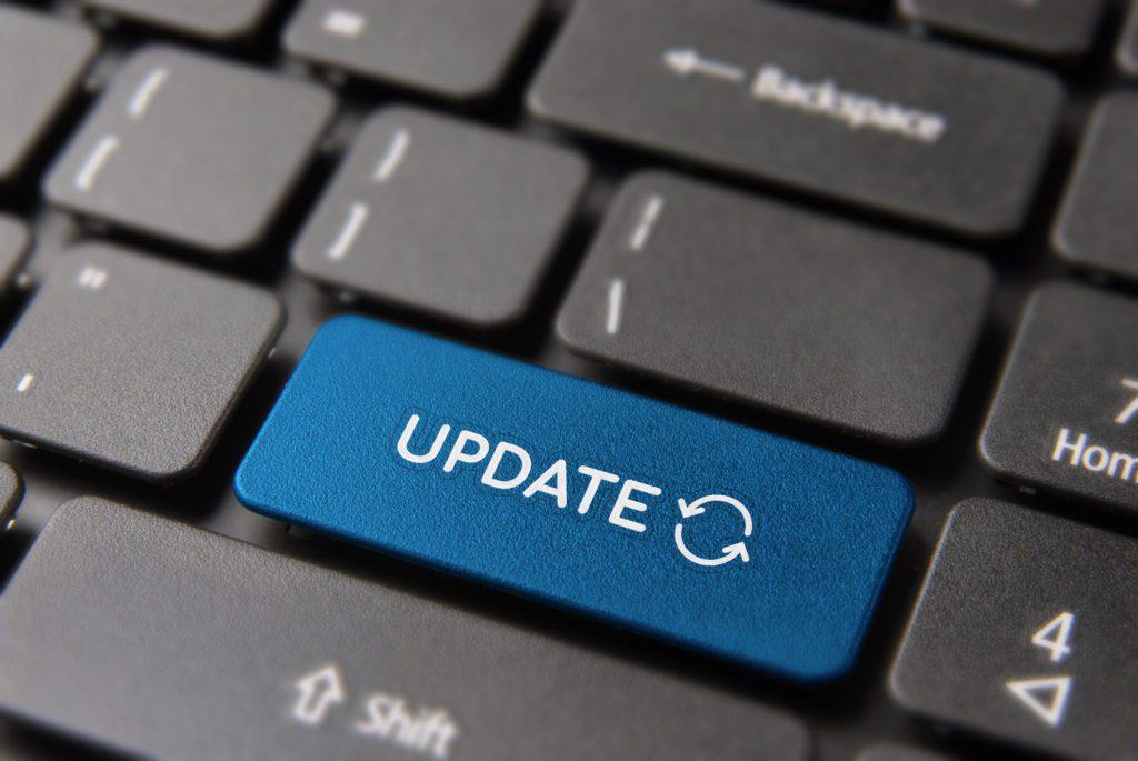 Blue update button on keyboard.