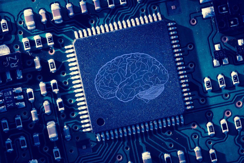 Brain logo printed on computer processor.