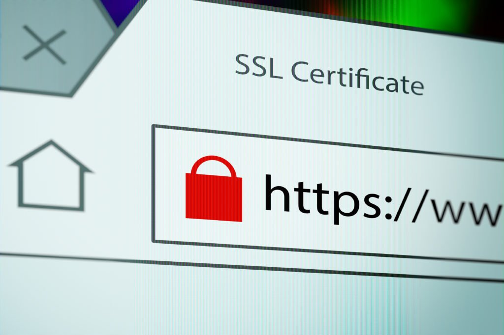 Close-up of a browser window showing lock icon during SSL connection.