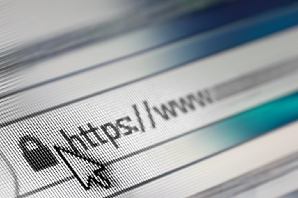 Close-up of https in address bar of web browser.