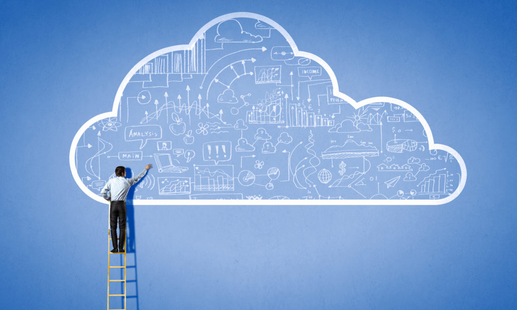 Man on a letter pointing on a painted cloud filled with technology.