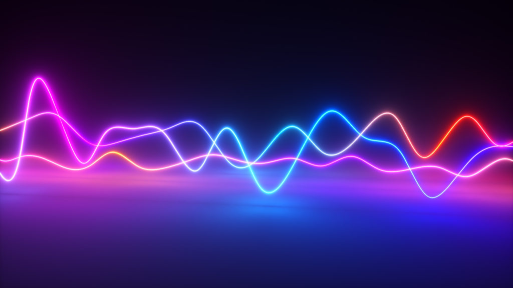 Colorful neon signal waves concept.
