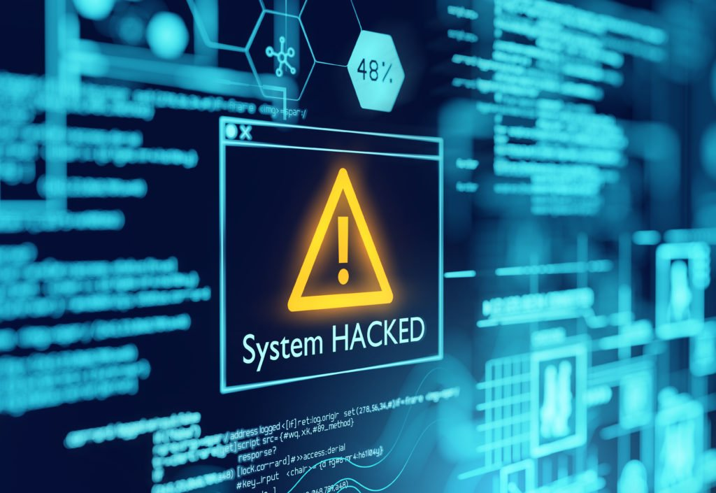 Computer pop-up warning about the system being hacked.