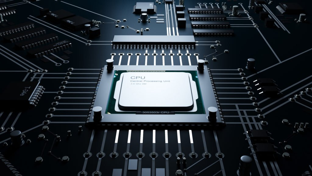 CPU on motherboard, concept of technology.