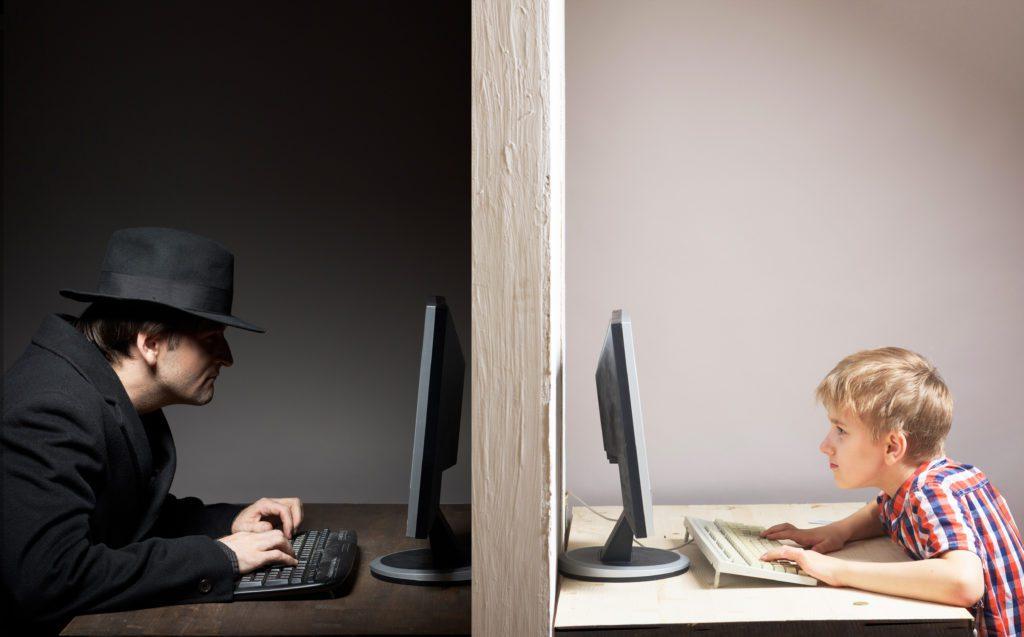 Concept of kids in danger online.