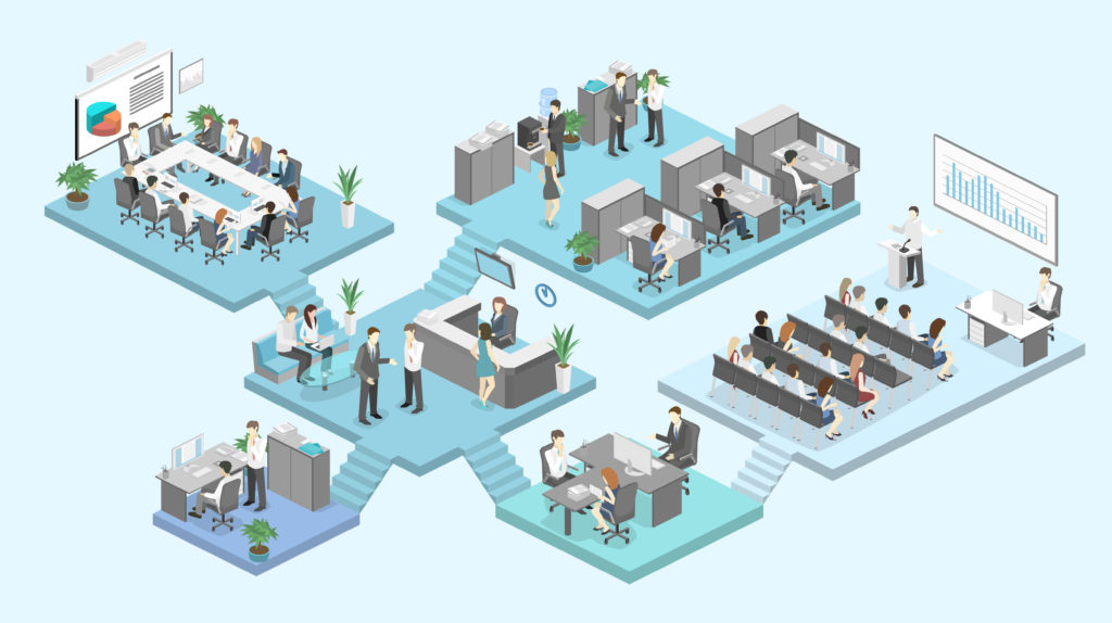 Isometric flat 3d abstract office floor interior departments concept.