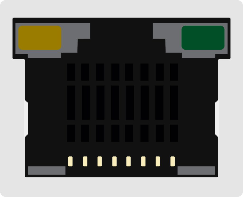 Ethernet port with orange light and green light.