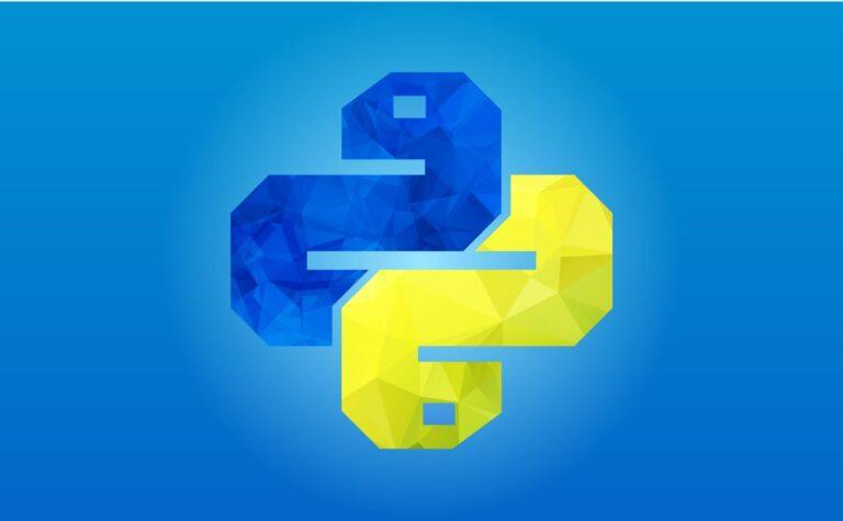 Polygon art logo of the programming language Python.