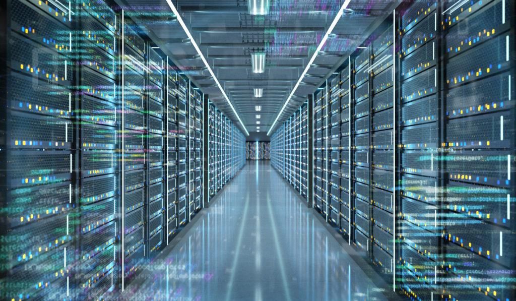 Futuristic server room data center.