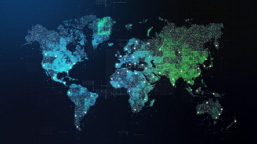 Futuristic world map in matrix style.