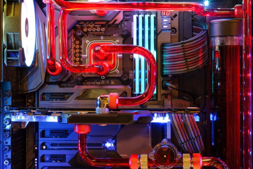 Inside gaming computer with water cooling system.