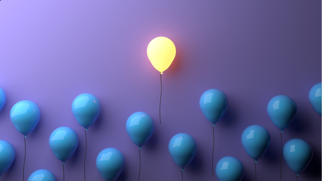 Stand out concept with glowing balloons.