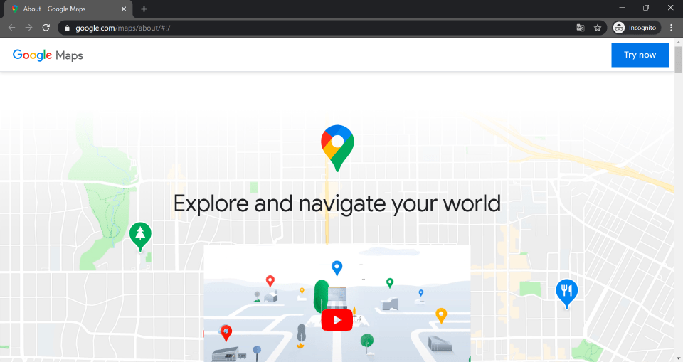 Screenshot of the about products maps webpage of Google.