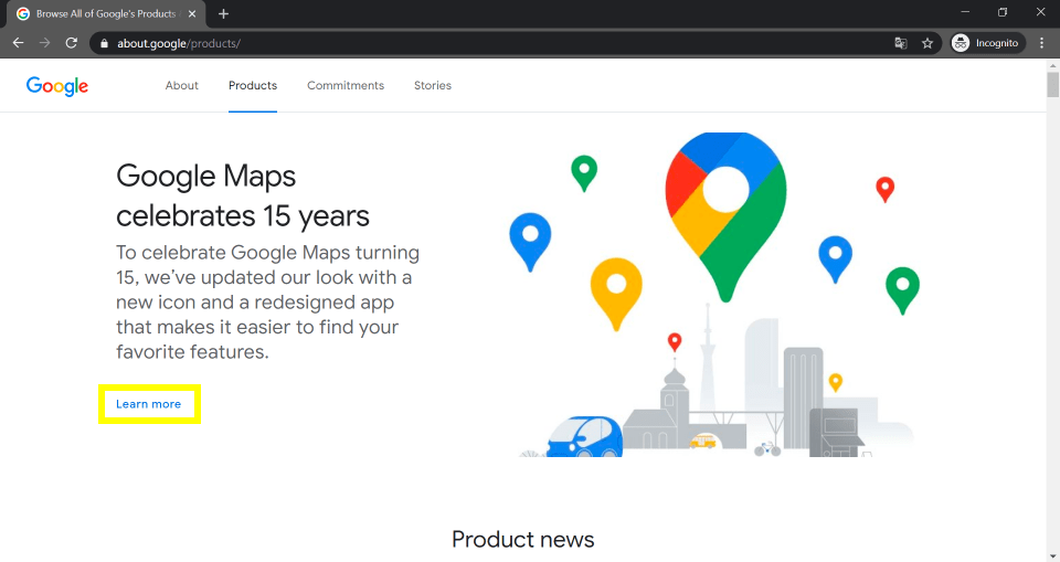 Screenshot of the about products webpage of Google.