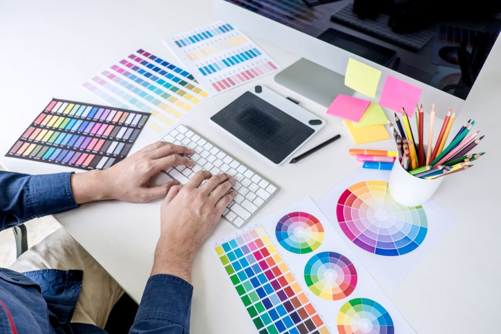 Graphic designer working on color selection.