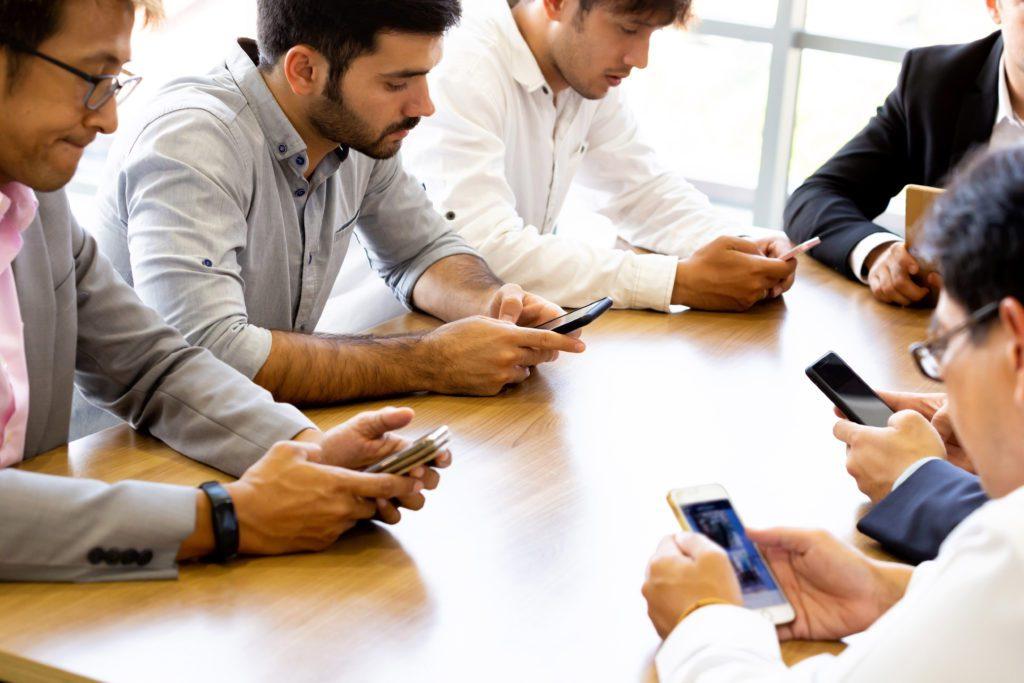 Group Businessmen Smartphones