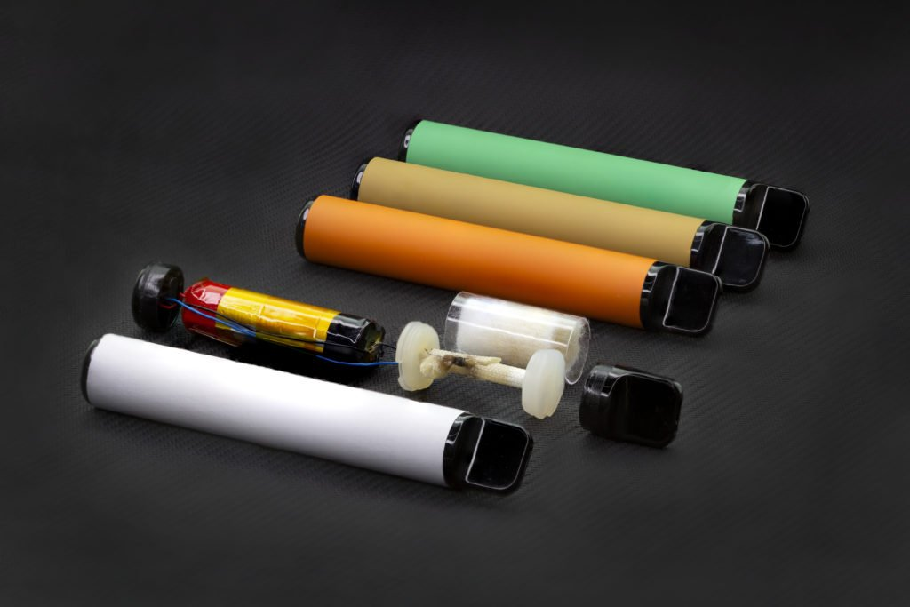Inside e-cigarettes and disposable vape devices.