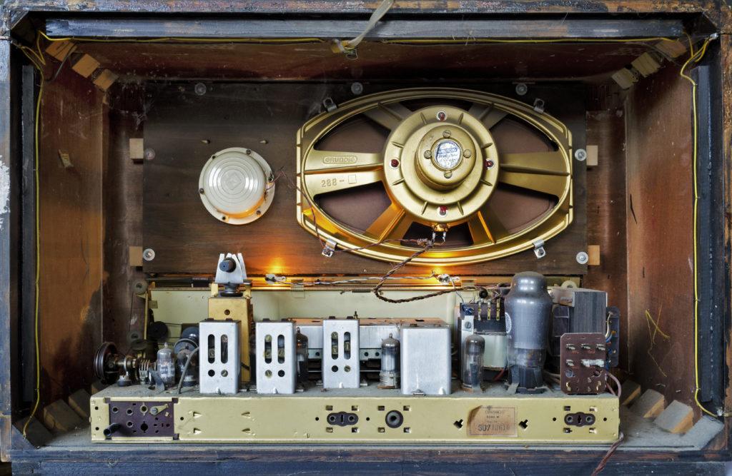 Inside of an old vintage radio.