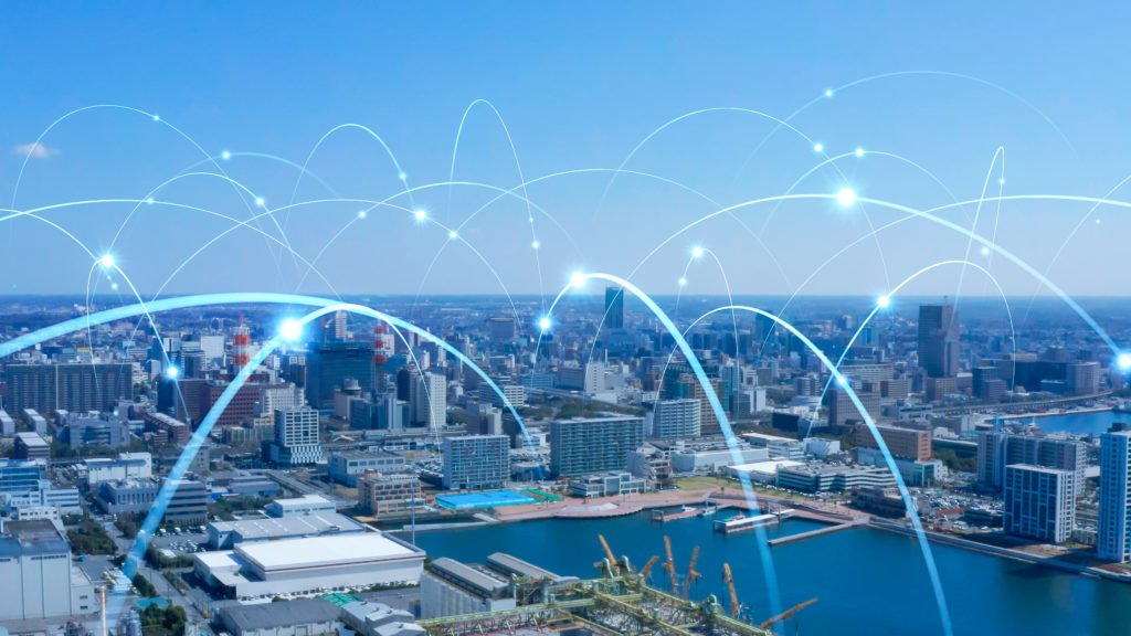 Concept of the Internet of Things and connectivity within the city.