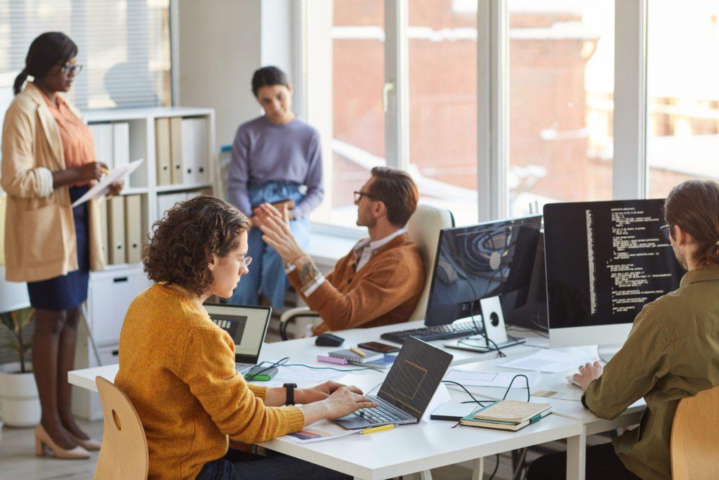 IT development team working inside their office.
