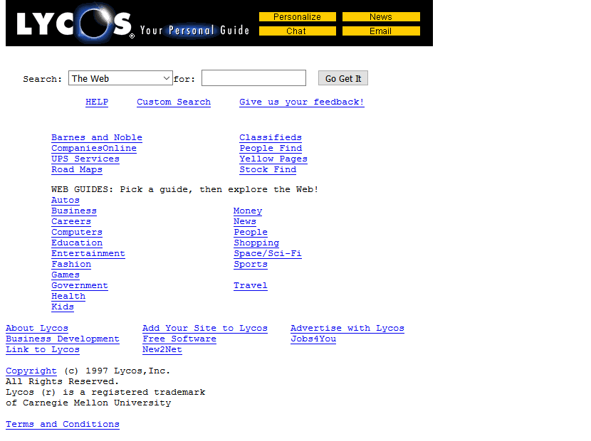 Screenshot of the Lycos website in 1997.