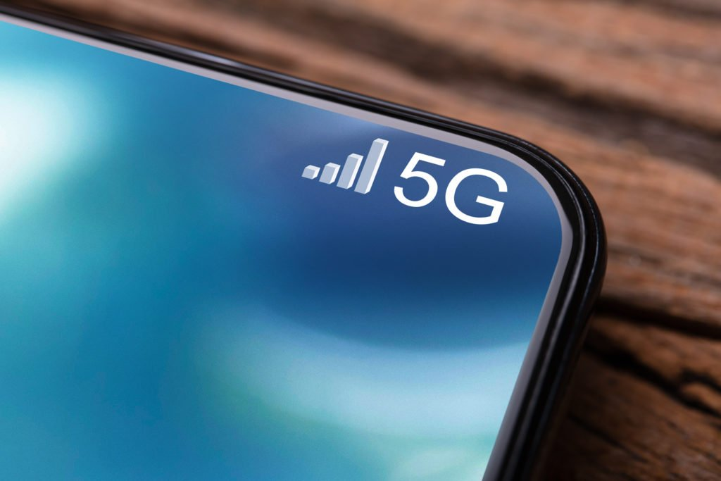 Mobile phone connected to a 5G network.
