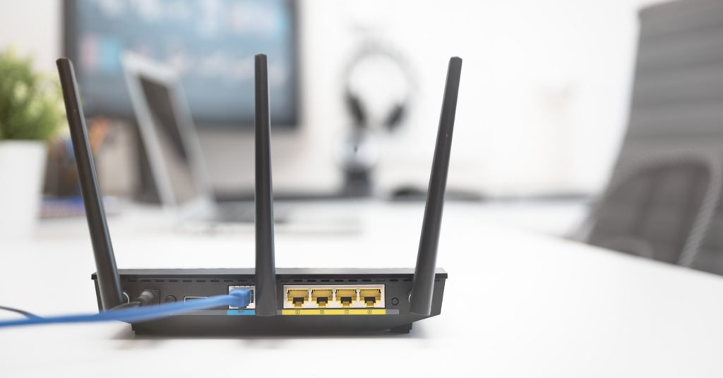 Modern black dual band wireless router.