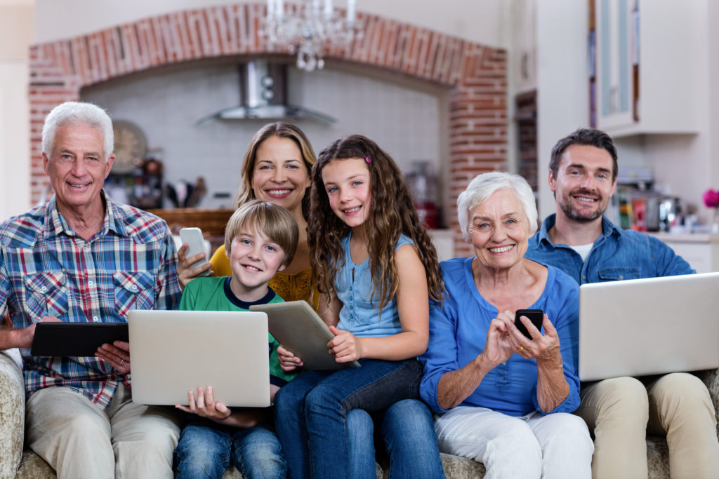 Multi-generation family using different technology and devices.
