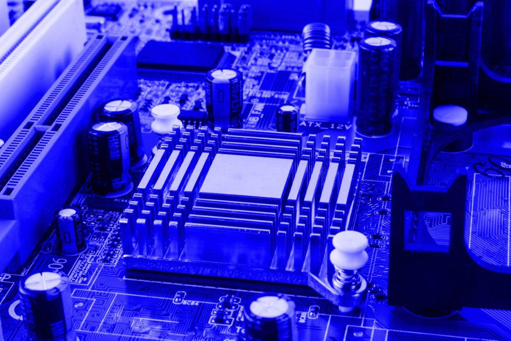 Radiator on chip of northbridge of computer motherboard.
