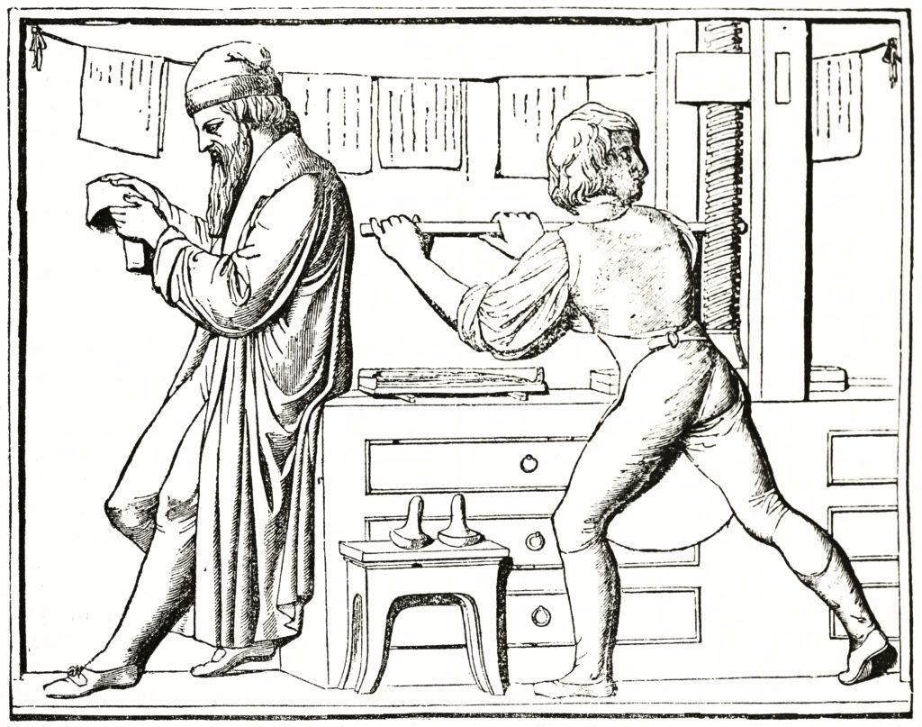 Old Gutenberg printing press illustration.