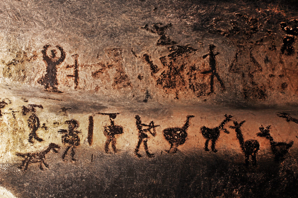 Prehistoric mural drawings in Magura cave.