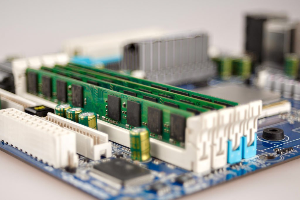 Close-up of computer RAM on motherboard.