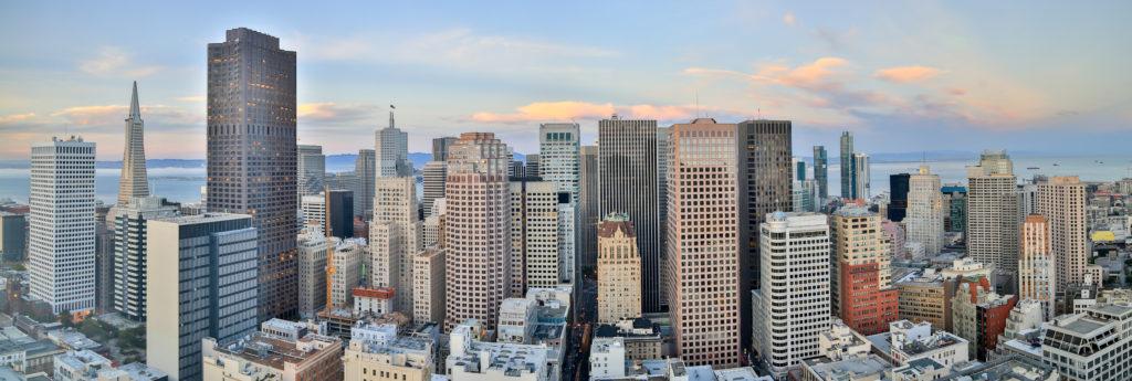San Francisco Downtown Panoramic View at Sunset.
