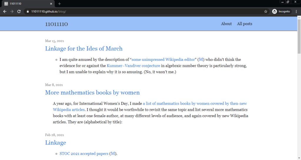 Screenshot of the 11011110 computer science blog