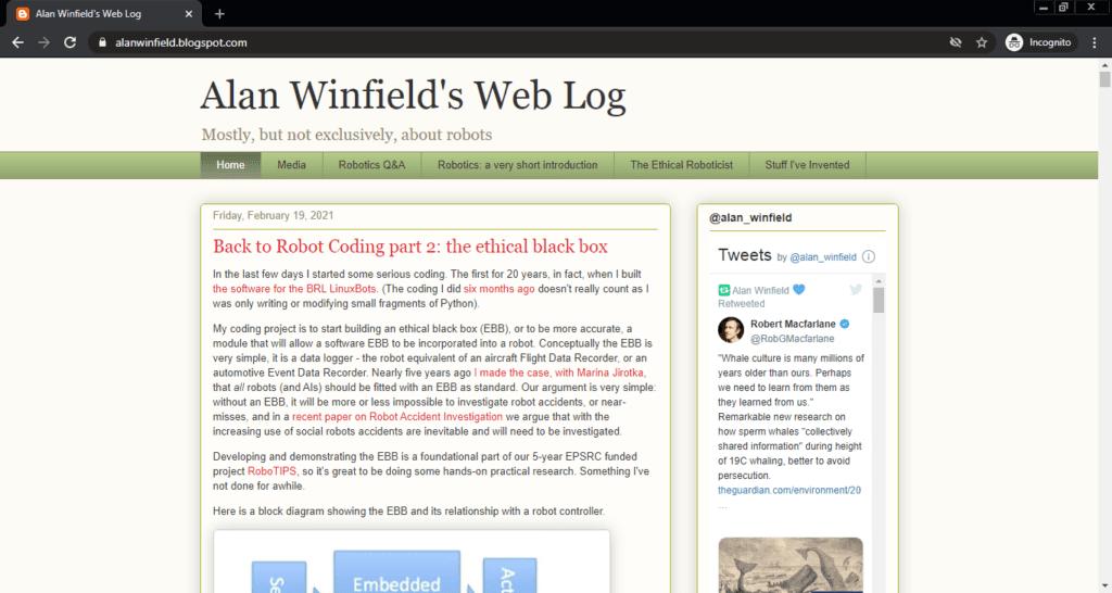 Screenshot of the Alan Winfield's Web Log computer science blog