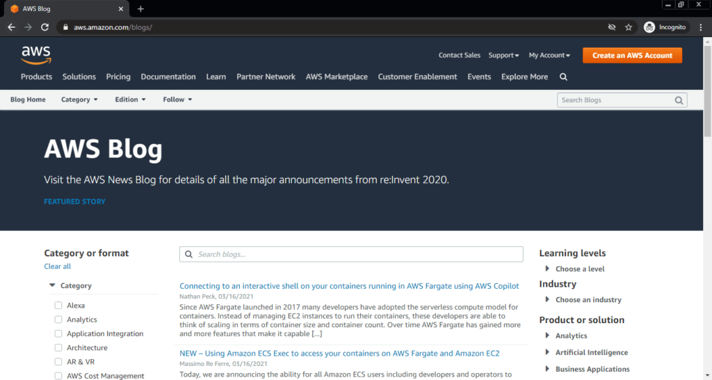 Screenshot of the AWS computer science blog