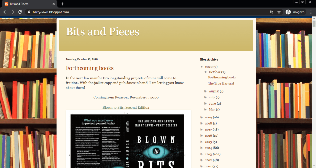Screenshot of the Bits and Pieces computer science blog