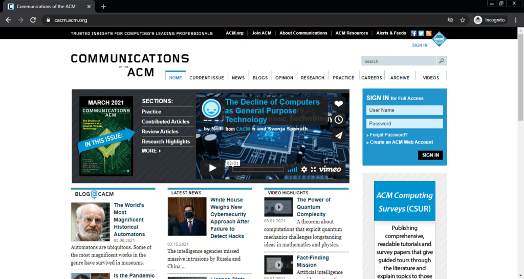 Screenshot of the CACM (Communications of the ACM) computer science blog