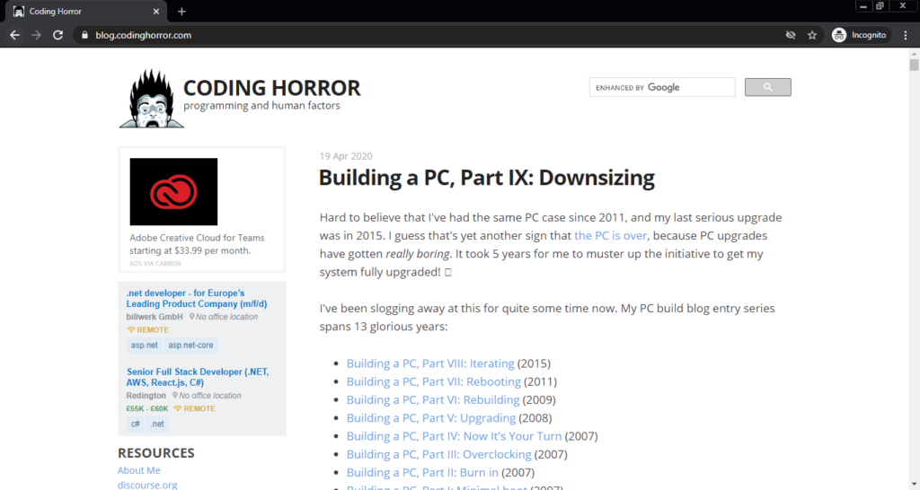 Screenshot of the Coding Horror. Programming and Human Factor computer science blog