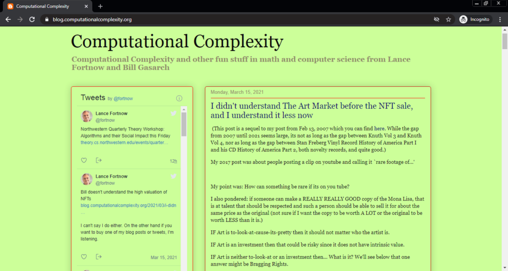 Screenshot of the Computational Complexity computer science blog