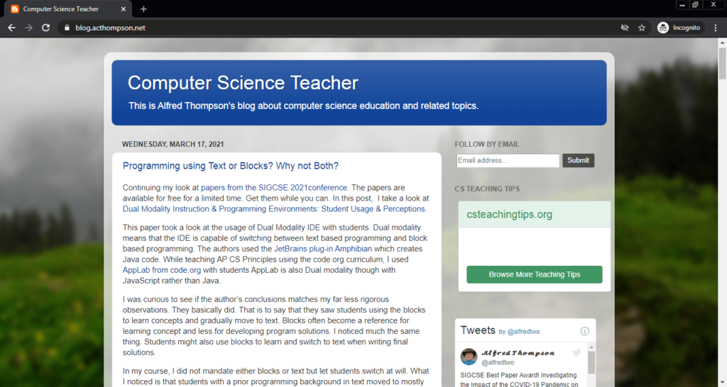 Screenshot of the Academic Computing computer science blog