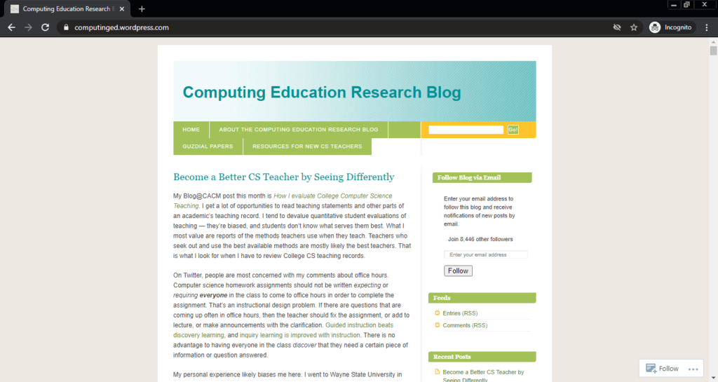 Screenshot of the Computing Education Research computer science blog