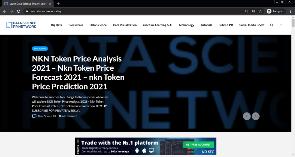 Screenshot of the Data Science PR Network computer science blog