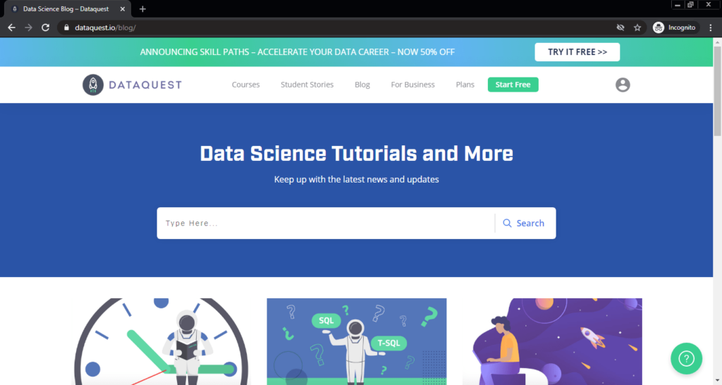 Screenshot of the Data Science Tutorials and More computer science blog